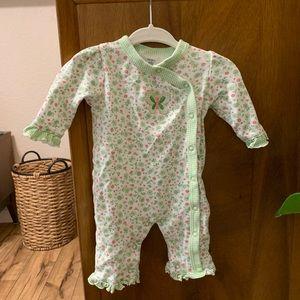 Newborn girls ruffled floral jumpsuit